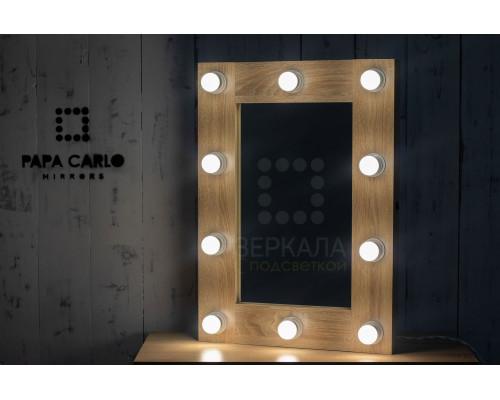 Гримерное зеркало с подсветкой 70х50 светлый дуб